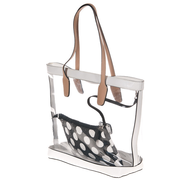30x30x14cm Bolso shoulder transparente - blanco