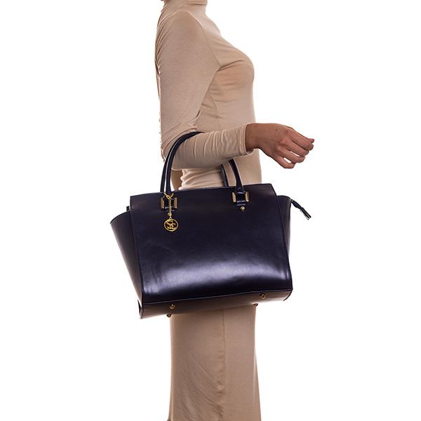 26x41x14cm Bolso handbag de piel - azul