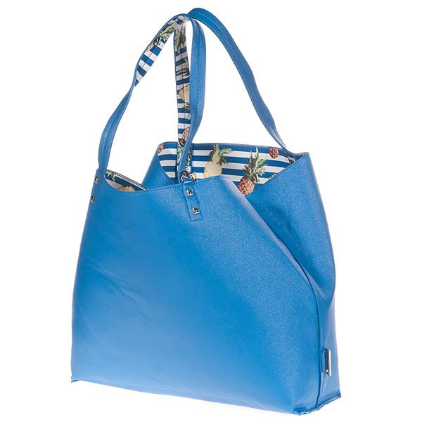 35x32x12cm Bolso Tote reversible Elle - azul/estampado